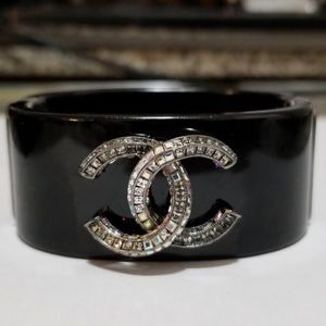 Chanel CC Crystals On Black Resin Wide Cuff